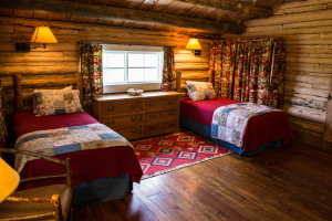 The twin bedroom at Dining Cabin 6 | Dubois Wyoming Lodging | CM Ranch