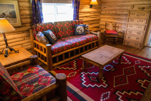 Sitting room in Hill Cabin 1 | Wyoming Guest Ranch | CM Ranch