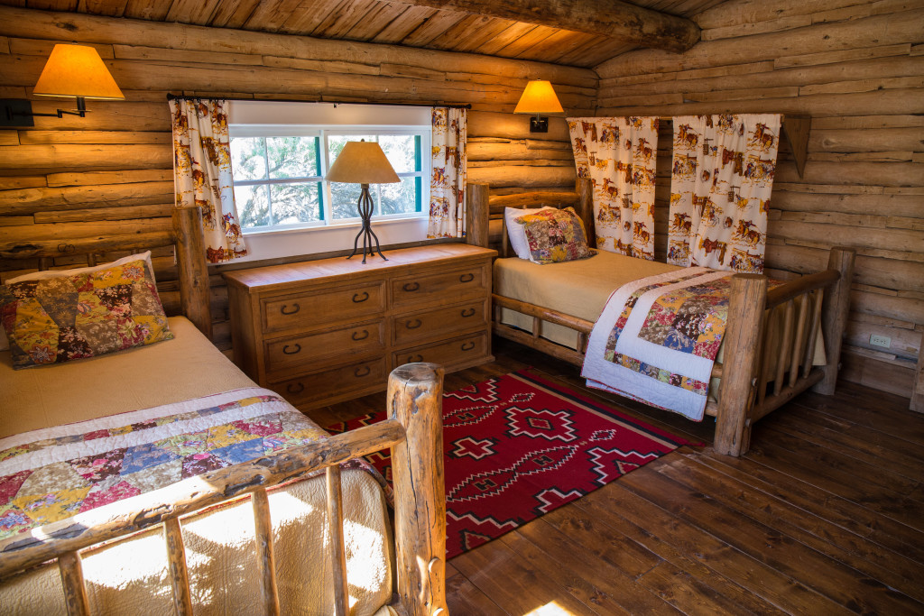 Twin Bedroom in Hill Cabin 3 | Wyoming Dude Ranches for Families | CM Ranch