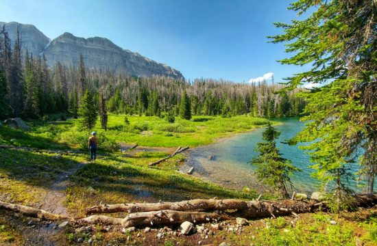 A person stands at the edge of an alpine lake near Jackson Wyoming Dude Ranch CM Ranch in Dubois