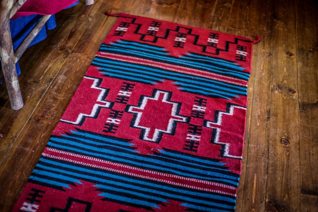 Authentic western rug at Dining Cabin 1 | Wyoming Guest Ranches | CM Ranch