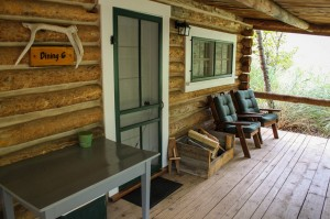 The porch at Dining Cabin 6   Dubois Wyoming Lodging   CM Ranch