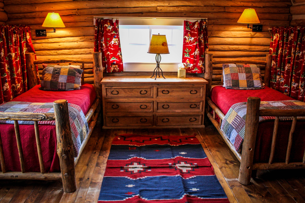 Twin Bedroom in Hill Cabin 4 | Cabins in Dubois Wyoming | CM Ranch
