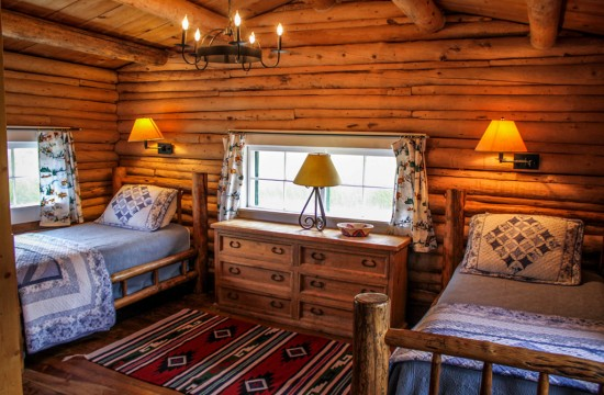 Twin bedroom of Hill Cabin 2 | Affordable dude ranch vacations | CM Ranch