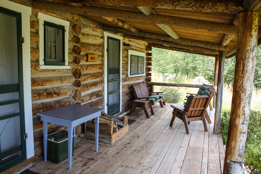The porch of Hill Cabin 3 | Wyoming Dude Ranches for Families | CM Ranch