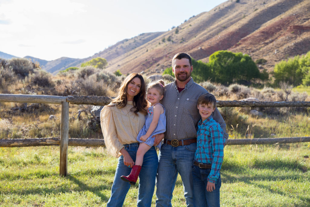 CM Ranch Managers Mollie and Hunter Sullivan with their children at CM Ranch in Dubois, WY | best horseback riding vacations